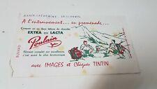 Ancien buvard publicitaire EXTRA OU LACTA Images et chèques TINTIN