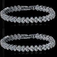 Luxus Armband Schmuck Kette Kristall Strass Hochzeit Braut Silber/Klar Länge18CM