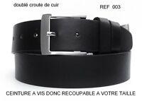 CEINTURE HOMME DOUBLE CROUTE DE CUIR VACHETTE NOIR REF003 COUPER A VOTRE TAILLE