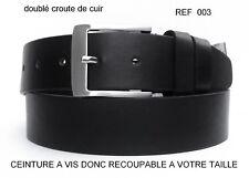 CEINTURE HOMME PU CUIR DOUBLE CROUTE DE CUIR VACHETTE NOIR REF003 RECOUPABLE