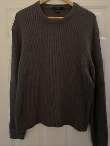 J Crew Men's Gray Ribbed Knit Cotton Pullover Crew Neck Sweater - XL - EUC