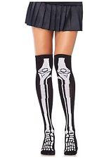 Womens Halloween Horror Skull Skeleton Bone & Fake Blood Knee High Tights Socks