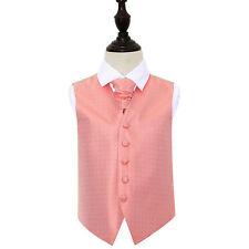 DQT Greek Key Patterned Coral Boys Wedding Waistcoat & Cravat