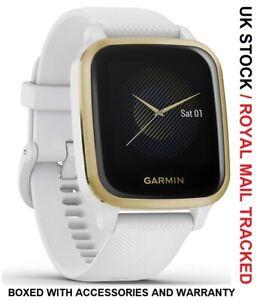 GARMIN Venu Sq Smartwatch Silicone Strap GPS Light Gold & White - UK Stock