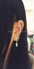Tiny Leaf Double Lobe Chain Earring Dangle Piercing Stud Charm Earring