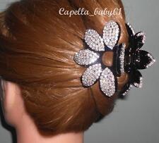 Capella *USA* NEW Black Crystal Rhinestone SUN Flower Bridal Hair Clip Claw EF13