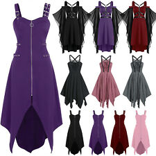 Women Medieval Steampunk Gothic Asymmetric Strappy Midi Dress Cosplay Costume US