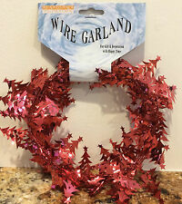 Christmas TREE Decoration - 9 Feet Long Wire Garland - RED (5 Count)