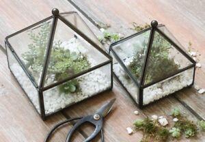 Glass Black Metal Frame Pyramid Terrarium Trinket Jewellery Box Small 13x17