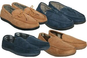 MENS FAUX SUEDE SLIP ON MOCCASSIN BEDROOM SLIPPERS SIZE 7-11