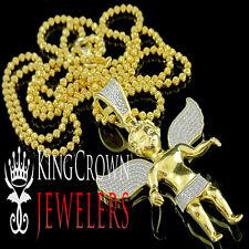 Yellow Gold Finish Mini Angel Cherub Jesus Real Diamond Pendant with Moon Chain