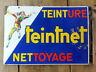 Ancienne plaque émaillée double face TEINTNET équerre Arlequin émaillerie EAS