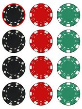 CASINO 'CHIP Chip Poker Commestibili Decorazioni per Torta wafer glassa per cupcake decorazione x 12