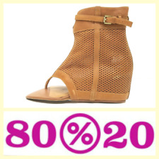 80%20 $225 Sophie tan perforated leather hidden wedge thong sandals/booties~7.5