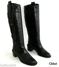 CHLOE RIDING BOOTS HEELS 6 CM ALL LEATHER BLACK 38.5ITL 39.5FR T GOOD CONDITION
