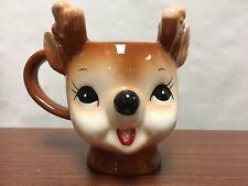 NEW Rare Pottery Barn Christmas Holiday Vintage Cheeky Reindeer Figural MUG Box