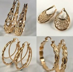 """SALE 9K 9ct """"Gold Filled"""" Prom 15 - 50mm Hoops Earrings Birthday Xmas Gift+Pouch"""