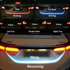 "47"" 4 Color RGB Car Rear Trunk Strip Light Tailgate Turn Brake Signal Flow LED"