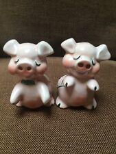 "Rare Vintage VanTellingen Medium Pink Pig With Green Trim Salt&Peppers 4 1/2 """