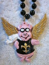 """Flying Pink Pig"" w/Golden Wings-Fleur-de-Lis Mardi Gras Bead Saints Qrp (B221)"