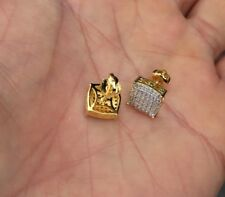 Mens & Ladies 18K Gold Finish 0/5ct. Real Lab Grown Diamond Screw Back Earrings