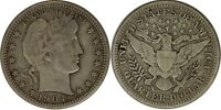 1904-P Silver Barber Quarter VF+ Uncertified Raw US Coin