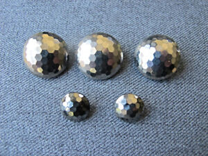 5 Antique faceted silvered accents black buttons