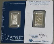5 X PAMP 5g GRAM (25 GRAMS TOTAL) FINE 999,5 PLATINUM BULLION BARS (NOT GOLD)