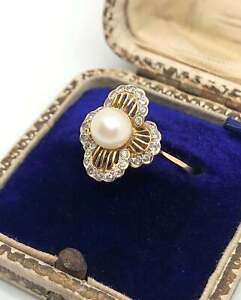 Yellow Gold Plated 6 MM Round Pearl Vintage Diamond Flower Shape Promise Ring