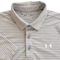 Under Armour Gray White Stripe Loose Fit Short Sleeve Mens Polo Shirt • Small S
