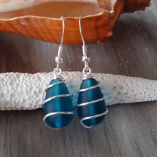 Handmade in Hawaii Wire wrapped teal blue sea glass earrings SS earring wires