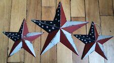 "(Set of 3) PATRIOTIC AMERICANA BARN STARS 12""/8"" RUSTIC AMERICAN PATRIOTIC FLAG"
