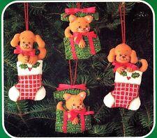CHRISTMAS PUPS & KITTENS Ornament Vintage Bucilla Kit set of 4,Dogs Cats