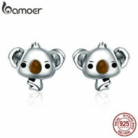 BAMOER Solid .925 Sterling Silver Stud Earrings Cute koala For Women Jewelry
