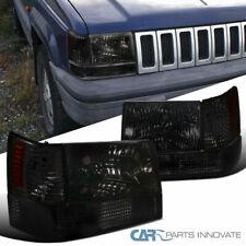 For 93-96 Jeep Grand Cherokee Smoke Lens Headlights Tinted Bumper Corner Lamps