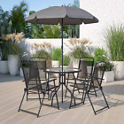 Garden Table With Chairs Set Umbrella Patio Terrace Furniture Folding 6 Piece
