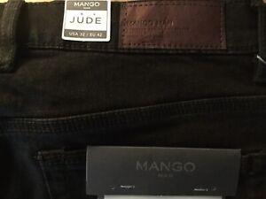 New w Tags Mango Man Jude Black Jeans Skinny 32 AU 42 EU  Medium Rise