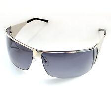 Brand New Wrapround Visor Sunglasses Silver frame Grey Resin Lens S8361