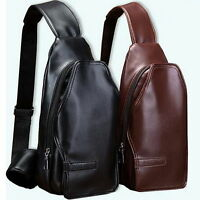 Men's Leather Chest Bag Women Casual Travel Small Sling shoulder Messenger Bags
