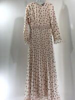 Asos Design Women Pleated Lace Inserts Maxi Dress Spot Print Pink US:4/UK:8 NWT=
