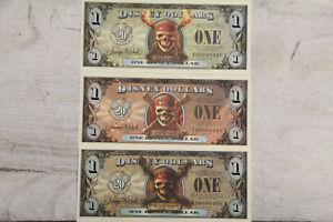 2007 PIRATES OF THE CARIBBEAN 3x MATCH SERIAL # $1 DISNEY DOLLARS UNC F00046440