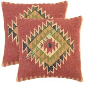 "18"" Set 2 Outdoor Handmade Kilim Rug Pillow Throw Indian Handwoven Jute Cushion"
