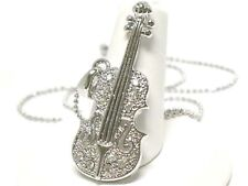 Violin Cello strings musical Pendant Necklace Sparkly Crystal White Gold Plated