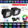 """2x 5"""" 24W FLUSH MOUNT LED Work Light Pods Cube with Chasing RGB Halo+ Wiring Kit"""