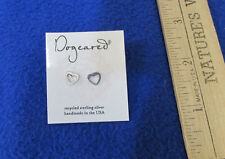 Dogeared Recycled Sterling Silver Pierced Earrings Heart Studs Handmade USA NOS