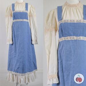 GUNNE SAX, WHITE & BLUE, LATE 1960s VINTAGE HIPPY PRAIRIE BOHO APRON DRESS 12