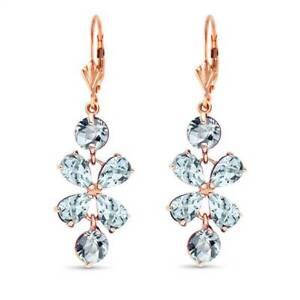 Aquamarine Flower Earrings In 14K Rose Gold (5.32 ct. tw