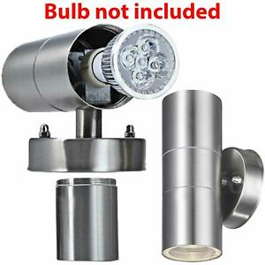 Stainless Steel GU10 Wall Light IP44 LED Up & Down Lights Garden Double Outdoor