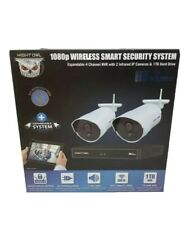 NEW Night Owl WM-WNVR-421 4 Channel 1080p Wireless Smart Security Hub with 2x108