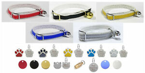 Cat / Kitten Leather Collar with Safety Elastic, Bell & Personalised Pet Tag